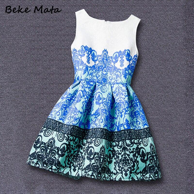 Avrupa-Amerikan Tarzı Anne Kızı Elbiseler 2016 Yaz Baskı Aile - Çocuk Giyim - Fotoğraf 5