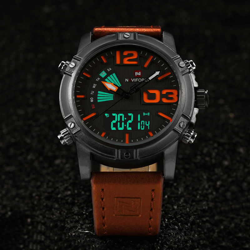 NAVIFORCE Fashion Luxury Brand Men Waterproof Military Sports Watches Men's Quartz Digital Leather Wrist Watch relogio masculino 2017 new luxury brand naviforce watches men leather quartz digital watch man fashion military casual sports wrist watch relogio