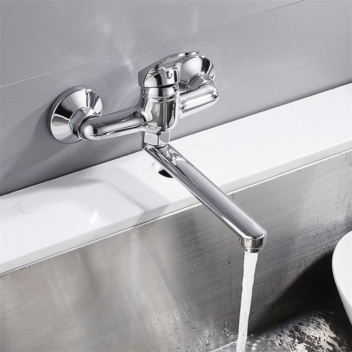 Hot Sale Wall Mounted Kitchen Faucet Lengthened Copper Rotate Single