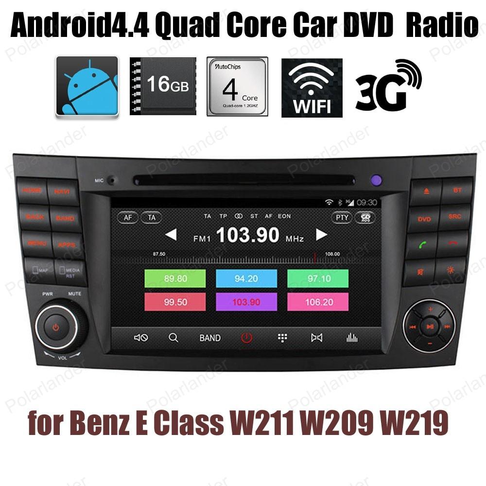 Pour B/enz E C/indeau W211 W209 W219 Android4.4 Quad Core voiture DVD CD radio Support stéréo DTV DVR GPS BT 3G WiFi DAB + TPMS