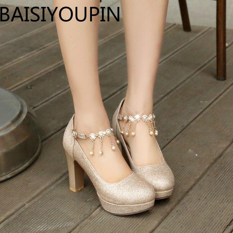 Women Thick Heels Professional Shoe Girl Tassel Dress Shoes Silver Sequins Bride Shoes Platform Women Wedding Shoes Plus Size 43