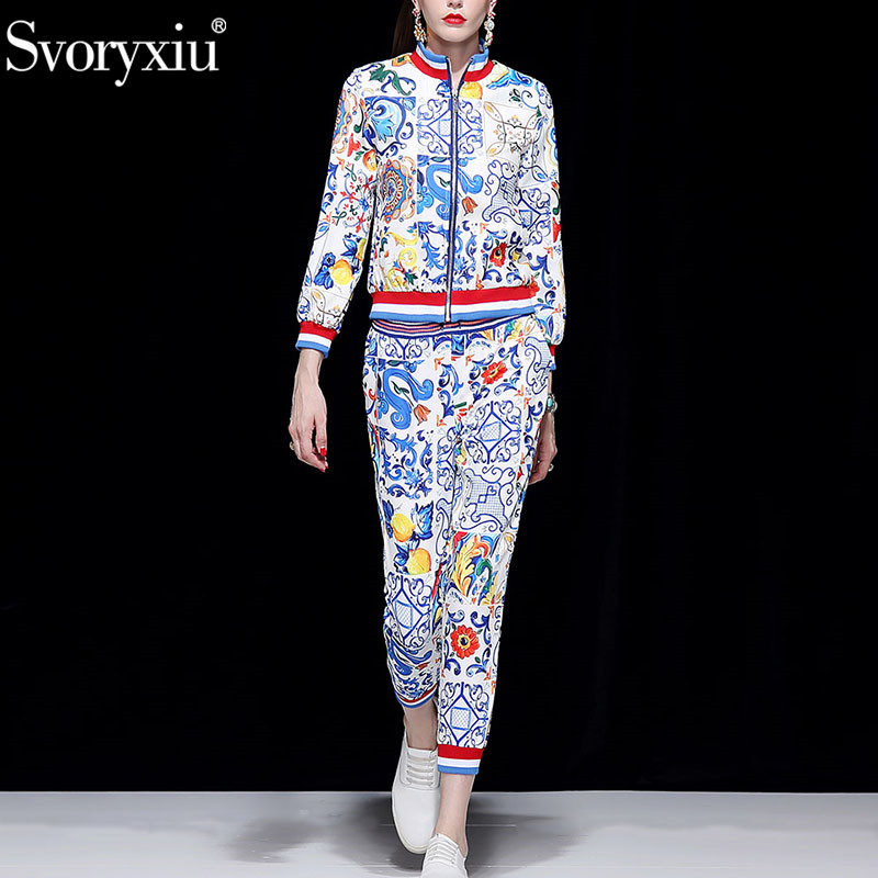 Svoryxiu 2018 Runway Autumn Winter Fashion Trousers Two Piece Set Long Sleeve Coat Casual Pants Painted