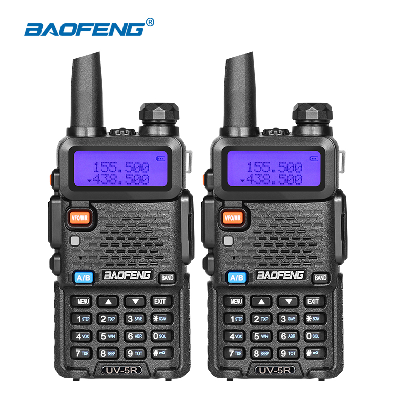 100% Original 2pcs Baofeng UV5R Walkie Talkie Dual Band Two Way Radio Portable Ham Radio HF Transceiver UV-5R