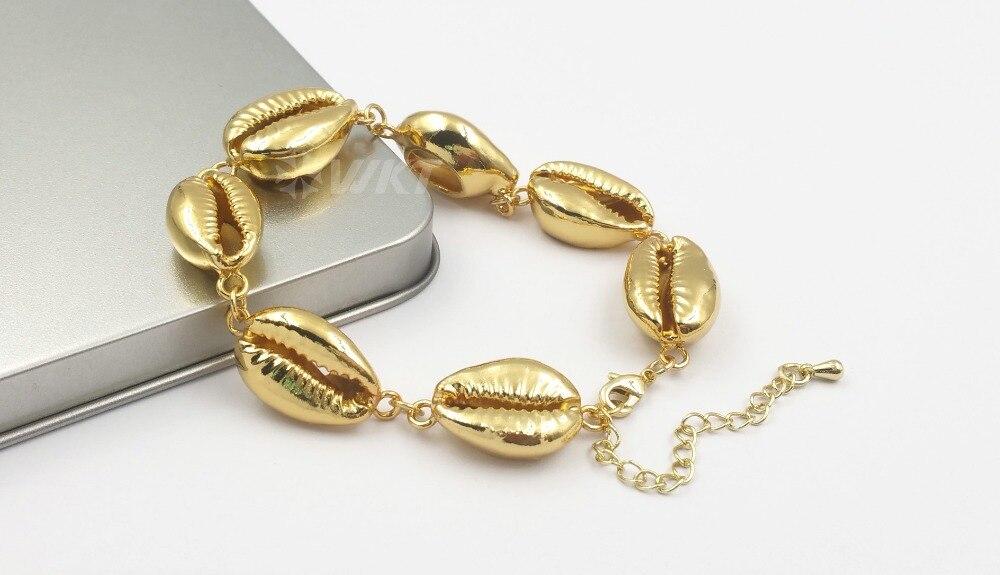 pulseira moda ouro mergulhado concha charme pulseira