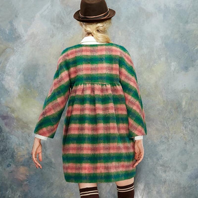 Gjl11 Mélangée Femmes Laine Jupe Manteau Long Chaud rose Orange Blazer Veste Mode D'hiver Plaid Cachemire Outwear En De Trench Femme 2017 CIwdUqU