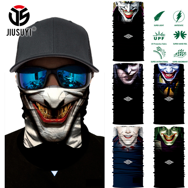 3D Seamless Multifunction Magic Tube Clown Joker Men Skull Ghost Shield Face Mask Headband Bandana Headwear Ring Head Scarf