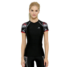 2016 New Women girls Compression Short Sleeve Running T-shirt Unique 3D Print Breathable Clothing Female Fitness