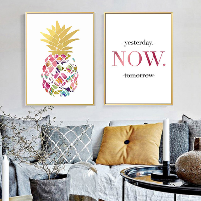 Modern Yellow Gold Pineapple Today Quotes Canvas Paintings Wall ...