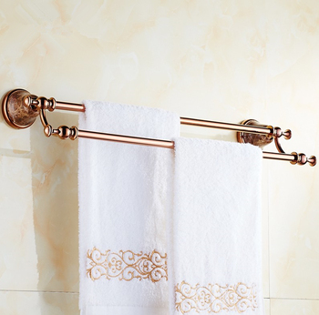 Bathroom accessories, Brass Material Luxury Rose Gold Finish Double Towel Bar&Towel Rack /  Marble Creative Design Style
