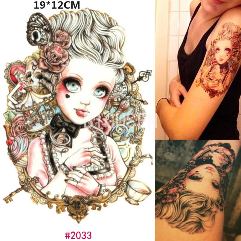 New big eye doll tattoo stickers temporary fake body for Fake body tattoos