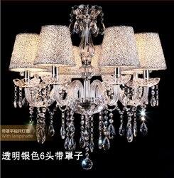 Stwardnienie żyrandol salon europejskie kryształowe luksusowe sypialnia salon hotel club przezroczysty kolor jadalnia ZX115 w Wiszące lampki od Lampy i oświetlenie na