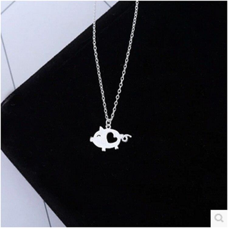 Ромашки из стерлингового серебра 925 пробы, серебряное пустое сердце Подвеска со свиньей, ожерелье с милой Свинкой, украшения для животных, подарок для защиты животных, Lover Zodiac