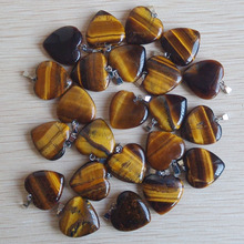 2018 Fashion bestselling natural tiger eye Stone love heart pendants charms for jewelry making 50pcs Wholesale free shipping