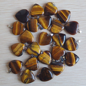 Image 2 - Fashion bestselling natural tiger eye Stone love heart  pendants charms for jewelry making 50pcs  Wholesale free shipping