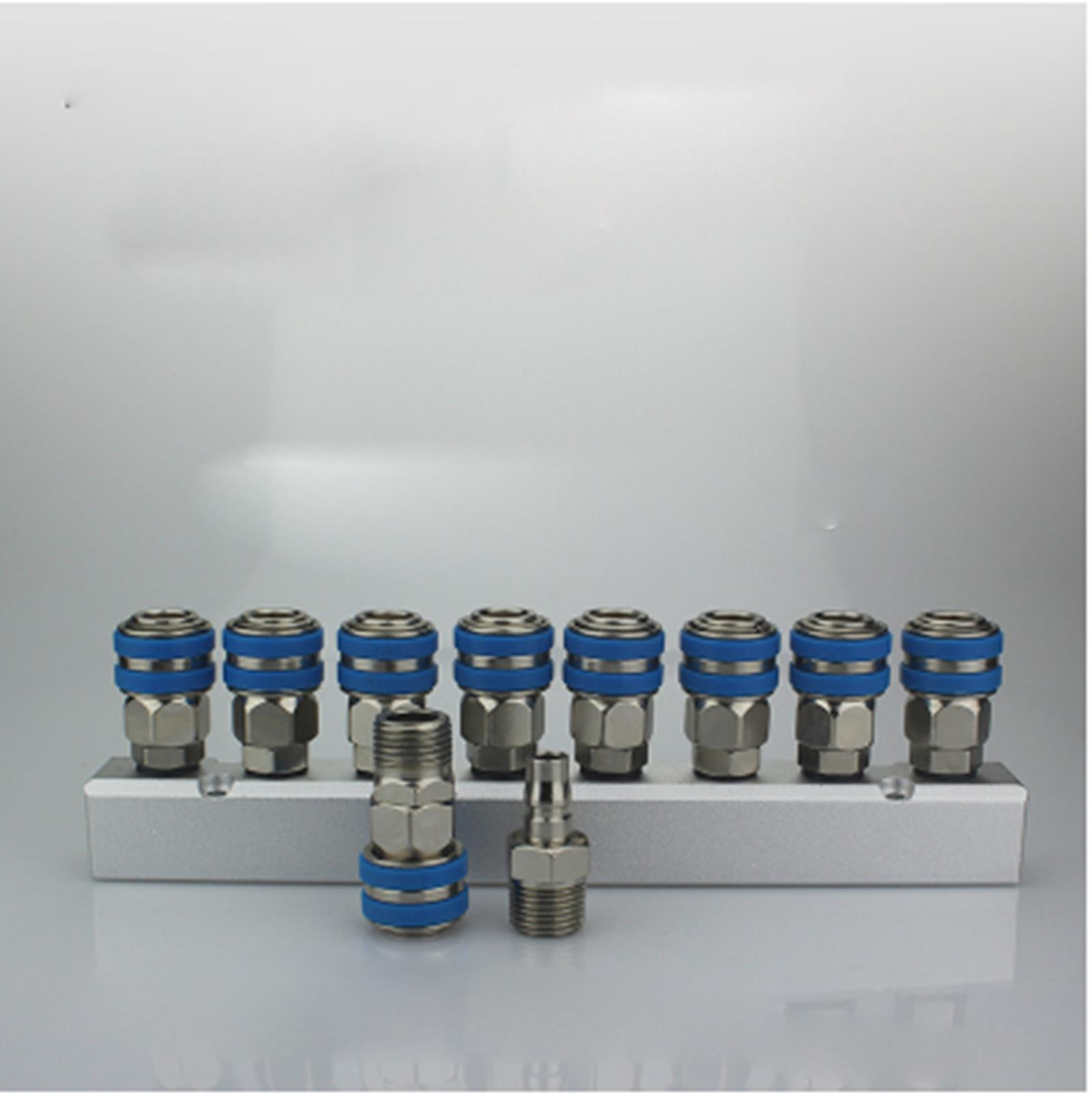 C Type Socket Out 8 Way Pneumatic Air Solid Aluminum Manifold Block Splitter turquoise color air pneumatic cylinder 9 way aluminum manifold block splitter