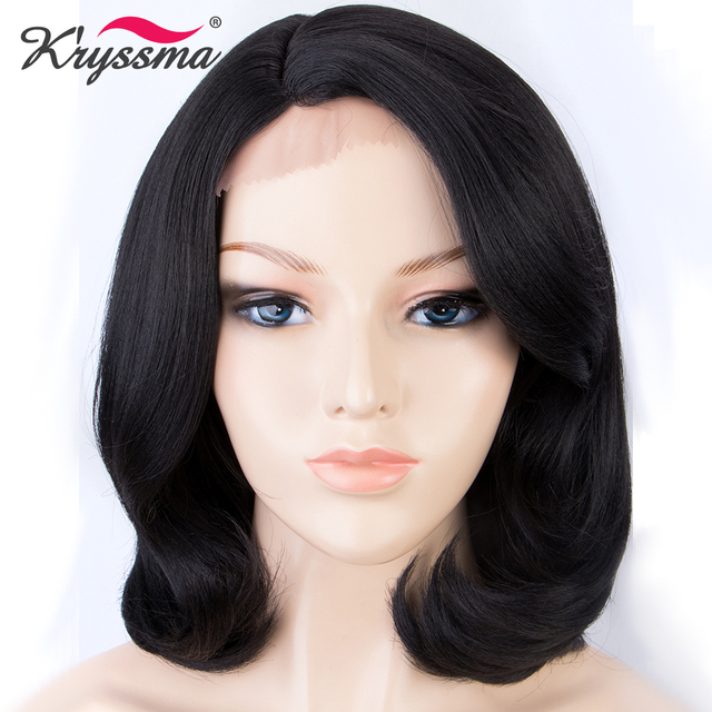 Peluca con malla frontal sintética negra aspecto natural pelucas cortas rectas Bob para mujer 12 pulgadas fibra resistente al calor separación profunda