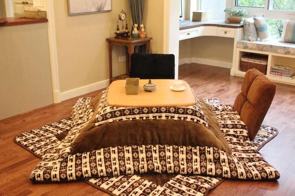 (4pcs/set)Japanese Kotatsu Set Table Futon Heater Foot Wamer Heated Table Living Room Furniture Kotatsu Wood Table Square 80cm