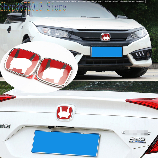 For Honda Civic 10th 2016-2017 ABS Chrome RED Front Rear Back Logo Emblem Badge Cover Car Styling Accessories 2pcs