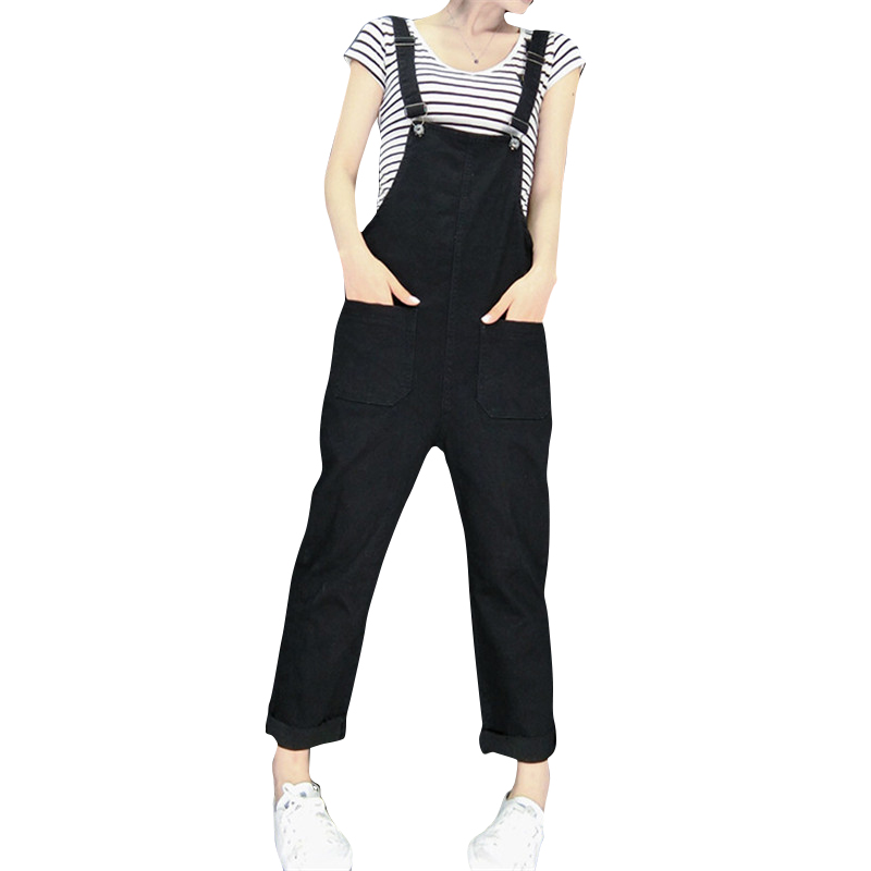 College Style Fashion Denim Overalls Women Rompers Womens Jumpsuit Double Pocket Pants Casual jumpsuits Jeans college 1938 694