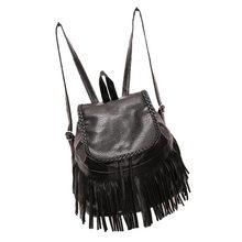 Новинка 2017 года черный рюкзак Для женщин кожа кисточкой рюкзак дорожные сумки рюкзак плечо школьные Для женщин сумка оптовая продажа #7551015