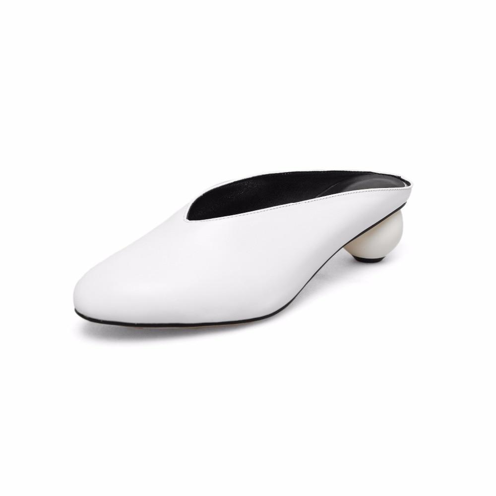 jaune Talon Med Chaussures Étrange Élégant L43 Slingback Concise Peu Style Douce D'été 2019 Grande Noir Pompes Lacets Marque Profonde Femmes blanc Sans Taille XiPkuZ