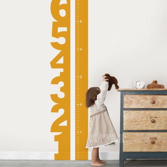 Home decoration growth chart numbers childrens vinyl wall decal baby room decorating childrens room 42183cm wall sticker in wall stickers from home