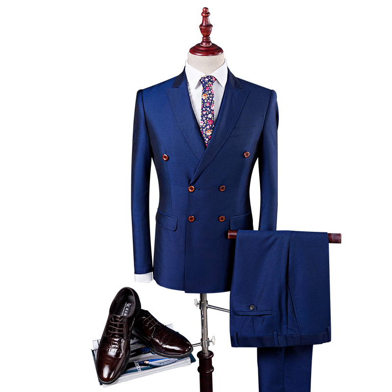 Double Breasted Suit 2017 Latest 3 Piece Men Jacket Vest Pant Prom Suits Dress Stylish Shiny Black Royal Blue Suits Slim Fit