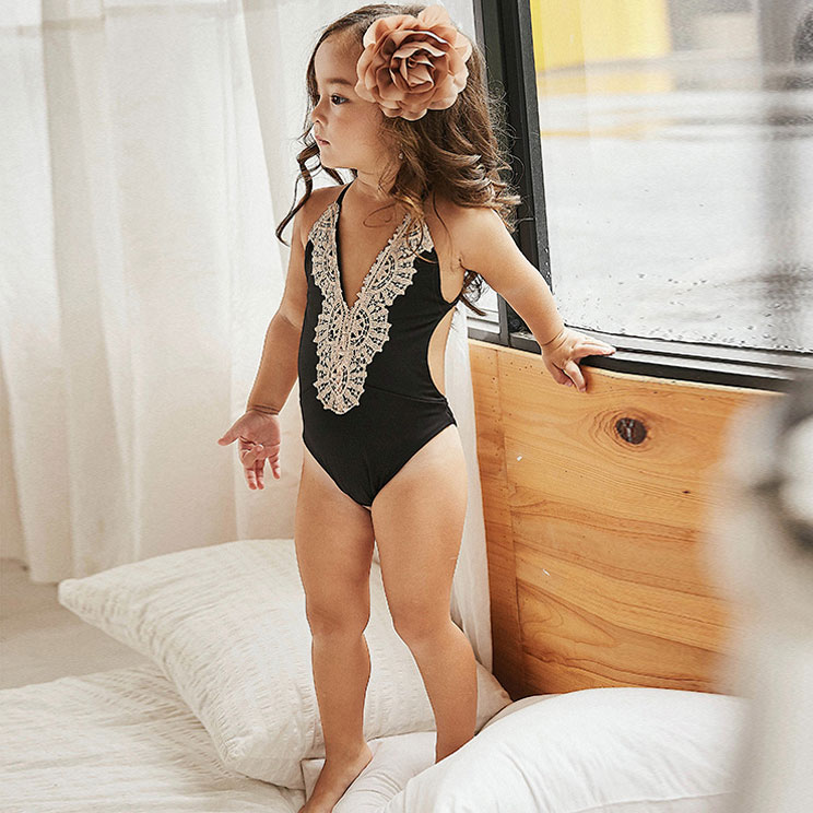 PopReal Fashion Mommy And Me clothes Lace Patchwork Backless One Piece Matching Swimsuit Mom Girls Matching Outfits