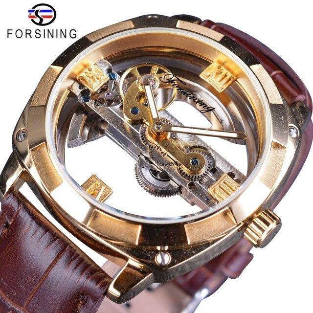 Forsining Double face Transparent doré lunette marron cuir ceinture hommes montre automatique Top marque luxe mécanique squelette horloge