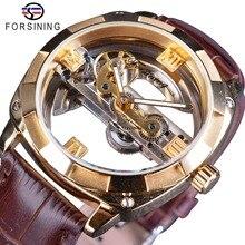 Forsining ضعف الجانب شفاف الذهبي الحافة براون حزام جلد الرجال ساعة أوتوماتيكية العلامة التجارية الفاخرة الهيكل العظمي الميكانيكية على مدار الساعة