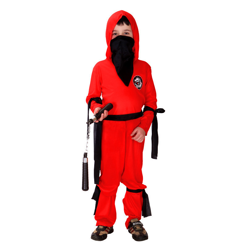 New Red Boys Anime Naruto Costumes Children Ninja Cosplay Kids Clothes Japanese warrior Role play Halloween Carnival Purim dress
