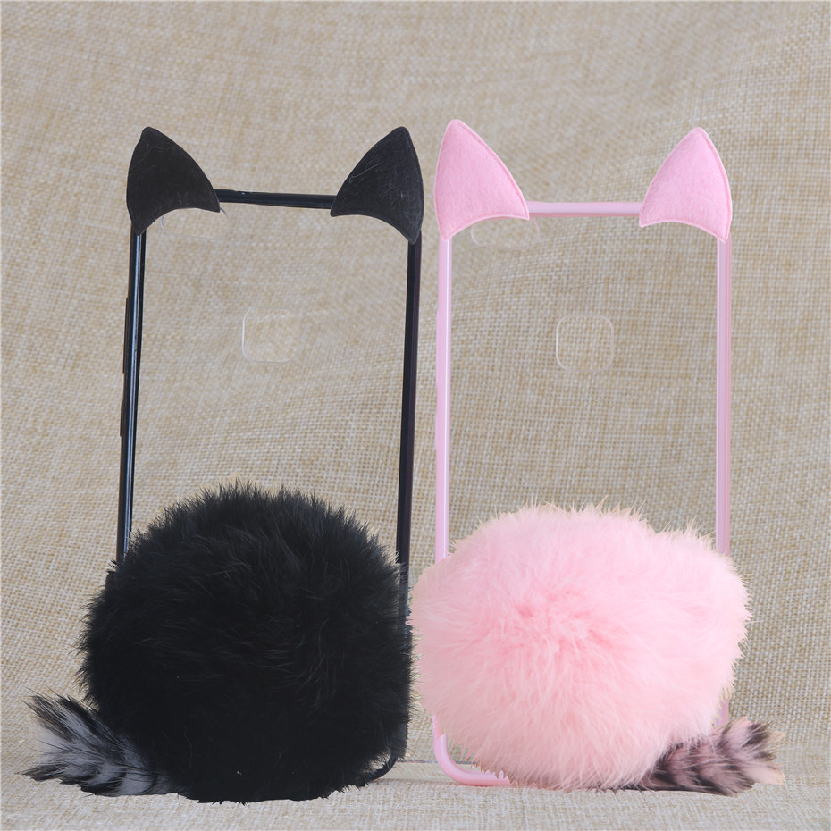 Phone Case 5.2 For Huawei Ascend P 10 P10 Lite Cute Fur Furry Ball Rabbit Cover Soft Silicone Coque Cases