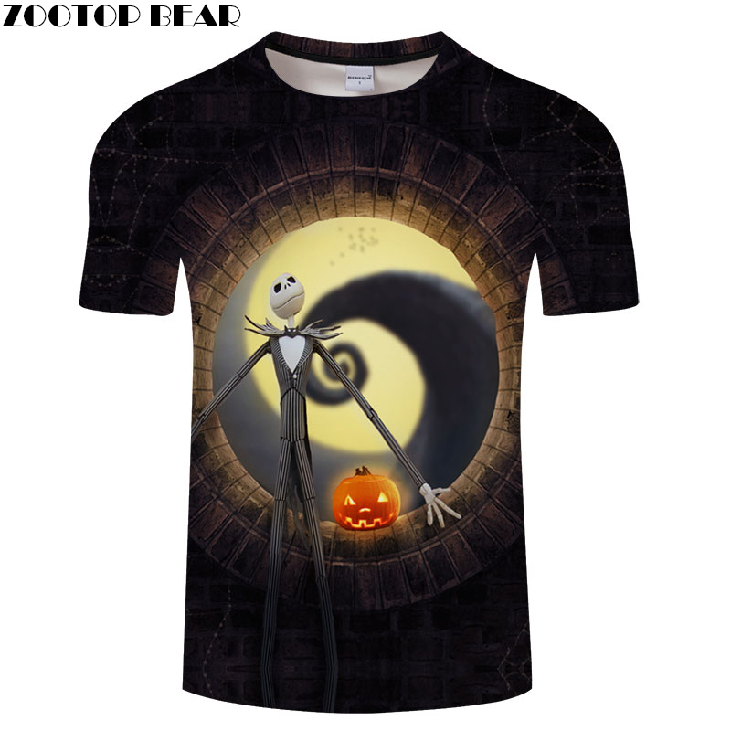 Jack skellington fire pumpkin tshirt Men t shirt 3d Top Tee Male t-shirt Short Sleeve Camiseta Skull Tee Drop Ship ZOOTOP BEAR