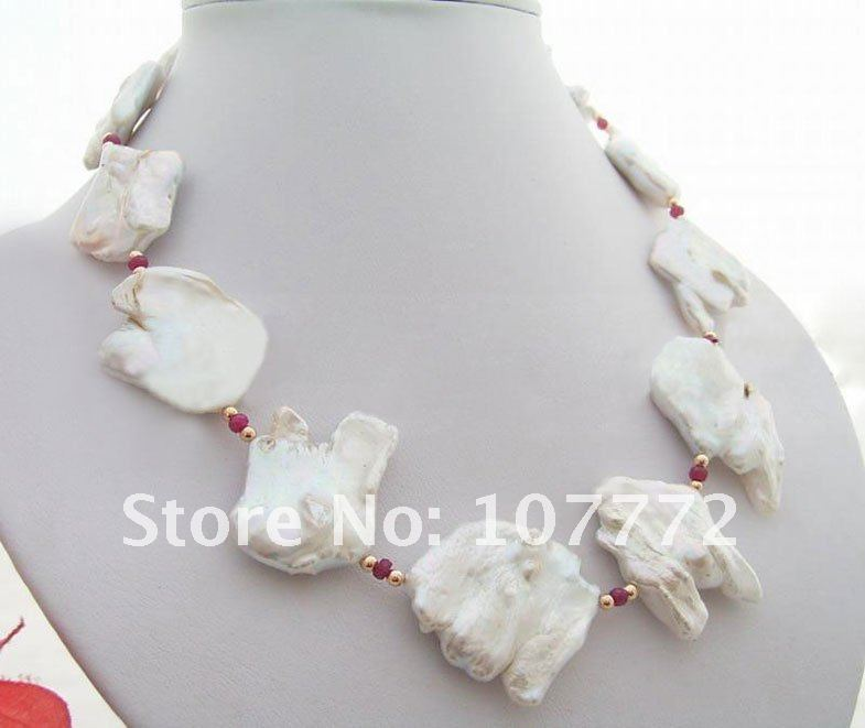 Rare Natural 27x29MM Keshi Pearl Necklace