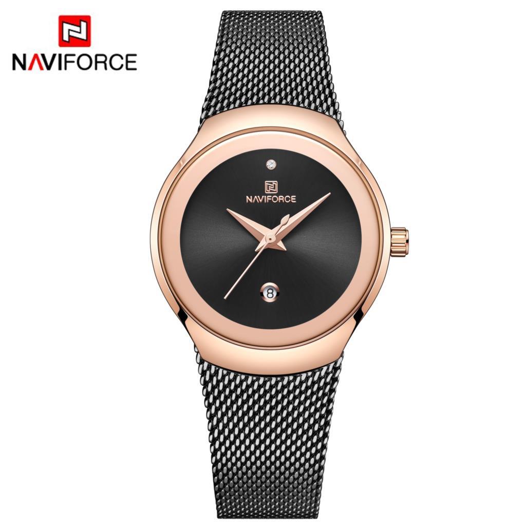 NAVIFORCE Women Watches Luxury Brand Mesh Fashion Steel Ladies Quartz Women Watch 2019 Relogio Feminino Montre Femme Black Clock