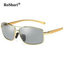 RoShari Aluminum Magnesium men polarized sunglasses Photochromic Discolored driving Sun Glasses for men oculos de sol masculino