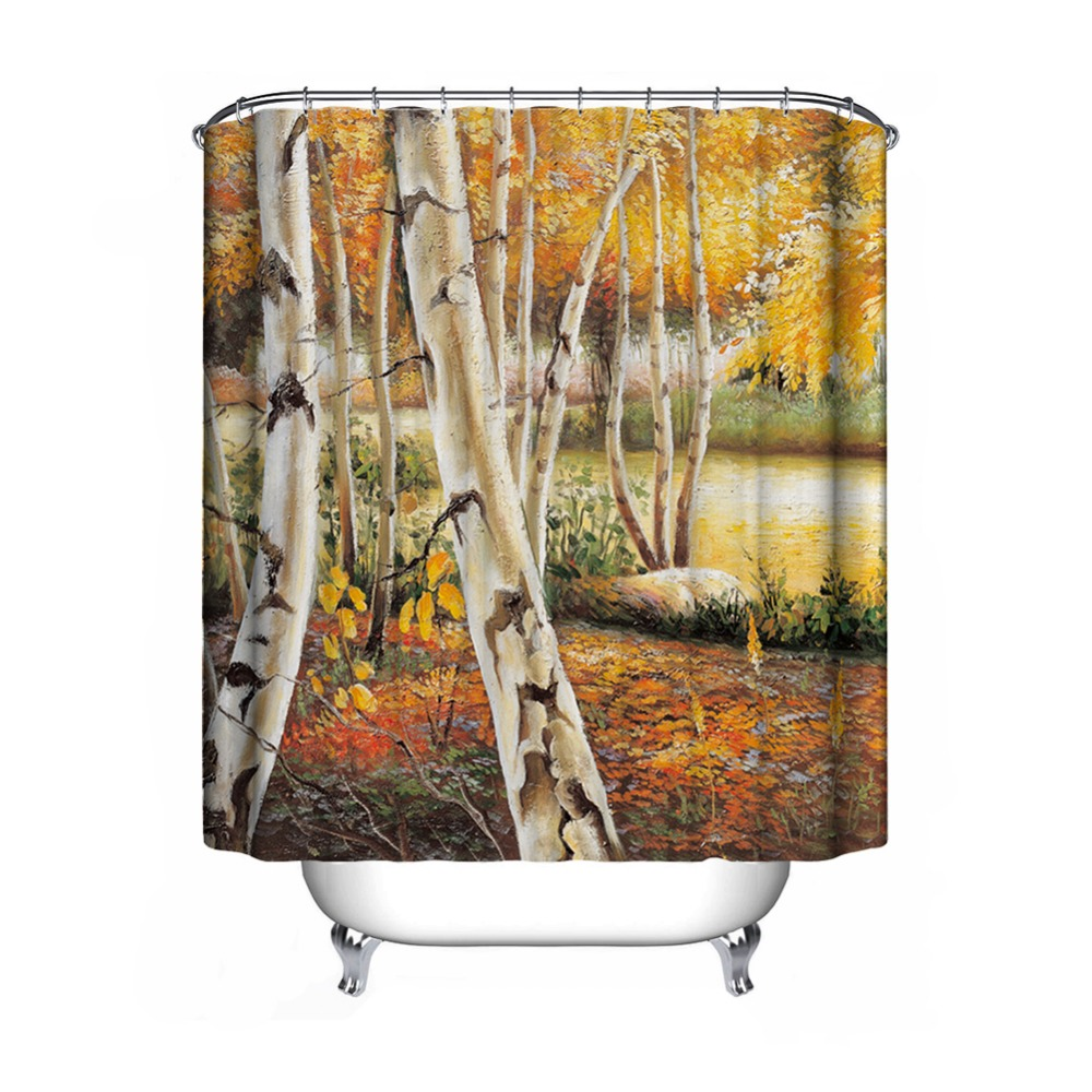 polyester waterproof shower curtain oil painting castle bathroom decorations yellow leaf forest sailboat 150180cm 180180cm