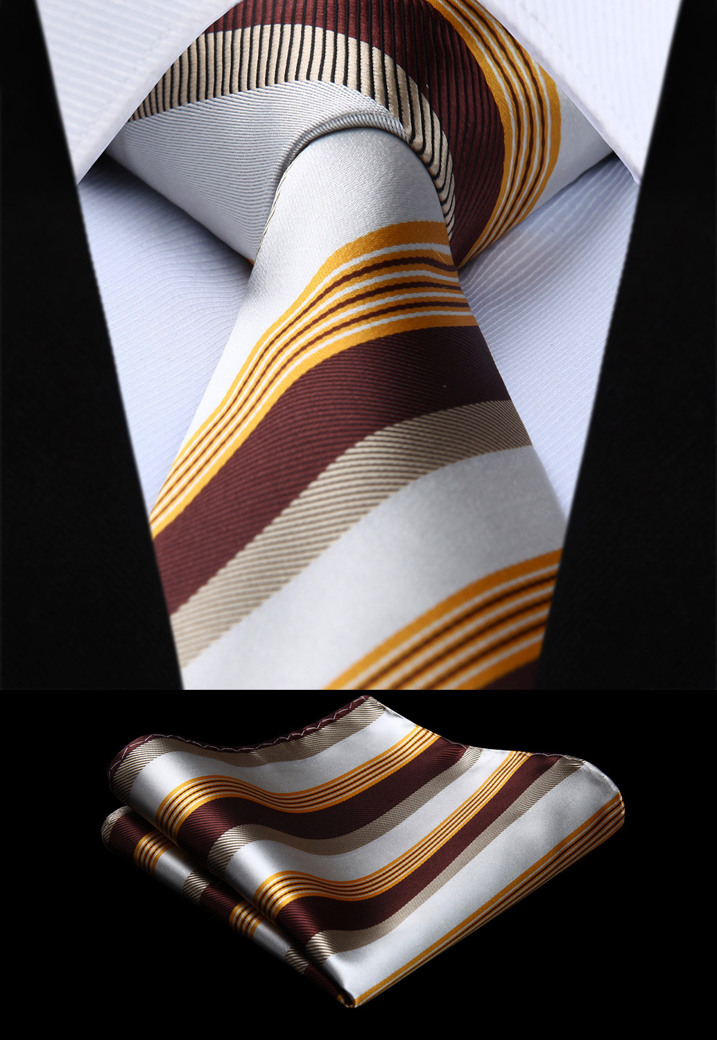 Woven Men Tie Brown Yellow White Striped Necktie Handkerchief Set# TS612Y8S Party Wedding Classic Pocket Square Tie