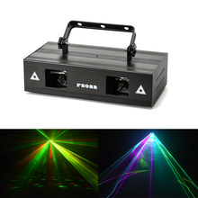 High brightness 2 Lens Red Green Blue RGB Beam Laser DMX512 professional projector DJ Disco home party show stage lighting(China)