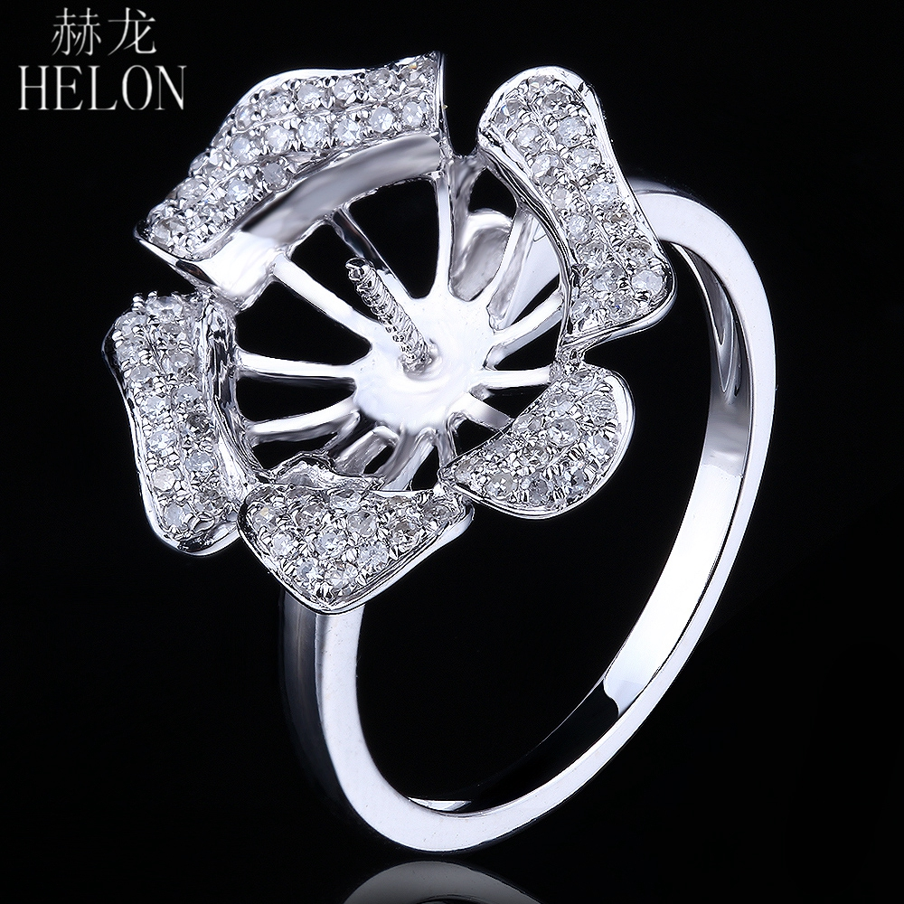 HELON Solid 14K White Gold 9.5-11.2mm Round Pearl Semi Mount Pave Natural Diamonds Ring Wedding Anniversary Fine Jewelry RingHELON Solid 14K White Gold 9.5-11.2mm Round Pearl Semi Mount Pave Natural Diamonds Ring Wedding Anniversary Fine Jewelry Ring