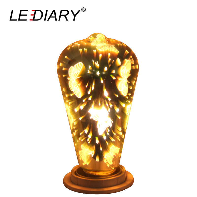 LEDIARY New 3D Night Light Butterfly Pattern E27 ST64 100V-240V Decoration Lamp Novelty  ...