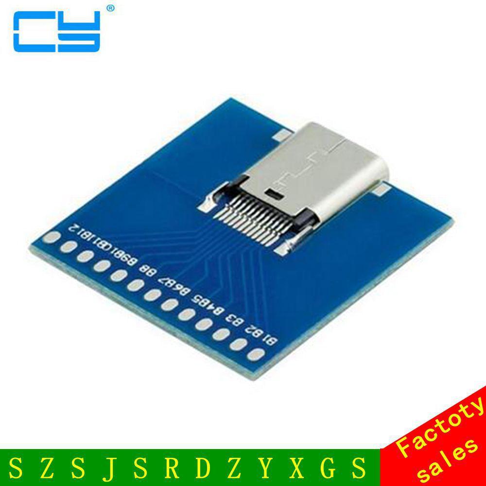 Livraison gratuite 10 Gbps USB-C USB 3.1 Type C Type-C Femelle Câble à Souder Test Socket PCBA Carte Adaptateur Connecteur de Soudage Adaptateur