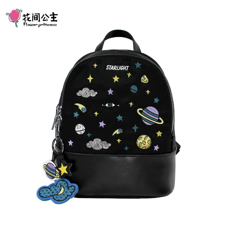 Flower Princess Original Embroidery Backpack Women 10 Laptop Backpacks Lady Black Travel Backpack Star Cute Girl