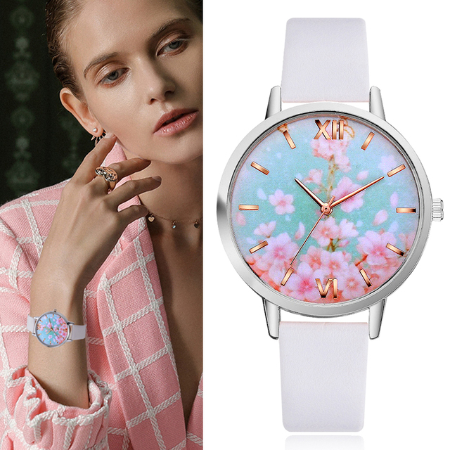 Lvpai Drop shipping Flower Pattern Watches Women Clock Gift High Quality PU Leat