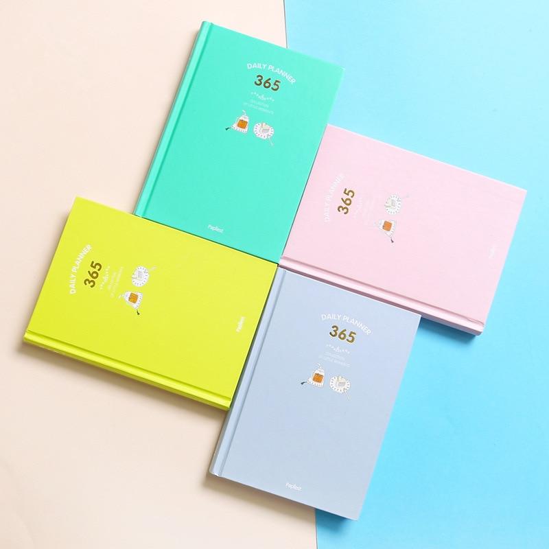 Koreanische Kawaii A5 365 Planer notebooks Täglich Wöchentlich Monatlich Jährlich Planer 2018 Agenda Zeitplan Tag Plan Notebook Journal Milchprodukte