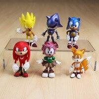 Free Shipping 1set 6pcs Set 3int 7cm SEGA Sonic The Hedgehog Figures Toy Pvc Toy Sonic