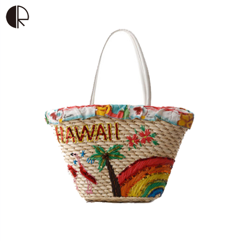 2016 Newest Fashion Weave Woven Women Totes Summer Hawaii ...