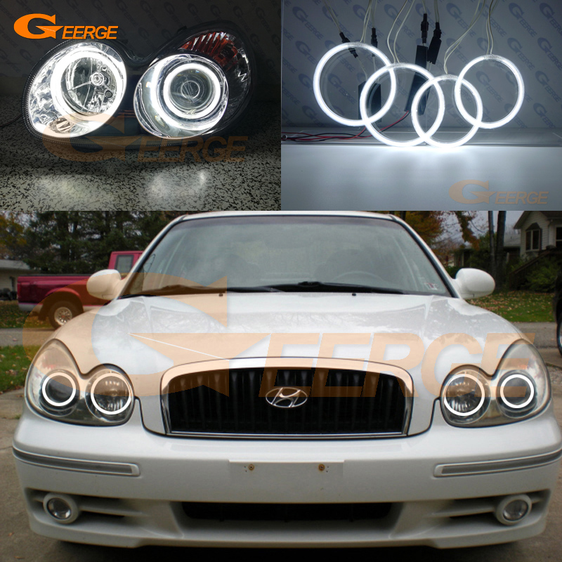 For Hyundai Sonata 2002 2003 2004 2005 headlight Excellent Ultra bright illumination CCFL Angel Eyes kit halo rings hochitech excellent ccfl angel eyes kit ultra bright headlight illumination for hyundai tiburon 2003 2004 2005 2006