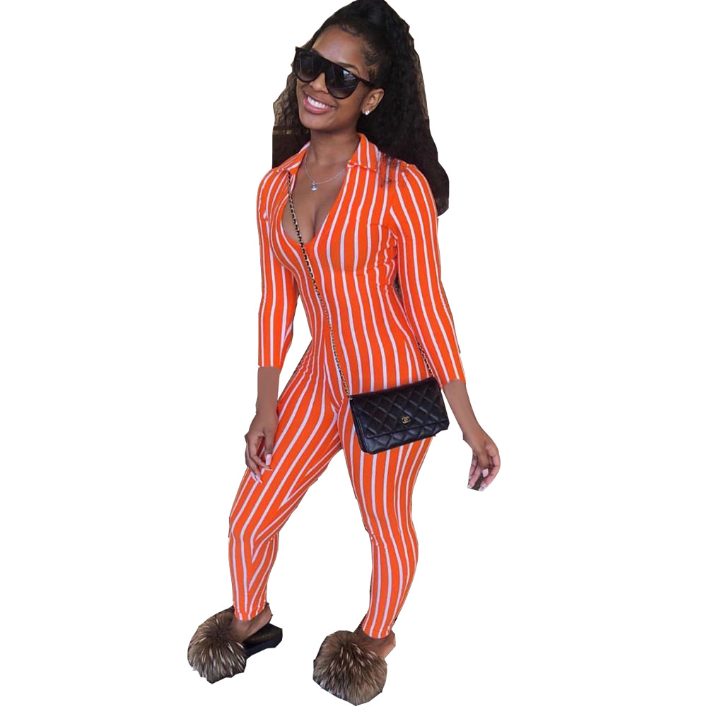 Adogirl Fashion Stripe Women Sexy Jumpsuit V Neck Long Sleeve Slim Skinny Romper Tracksuit Female Bodysuit Casual Overalls