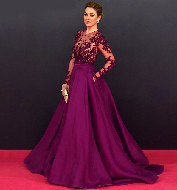 Aliexpress.com : Buy 2016 Purple Satin Long Sleeve Evening Dresses ...